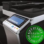 Colour Copier Lease Rental Offer Konica Minolta Bizhub C454e Panel Closeup Sideview