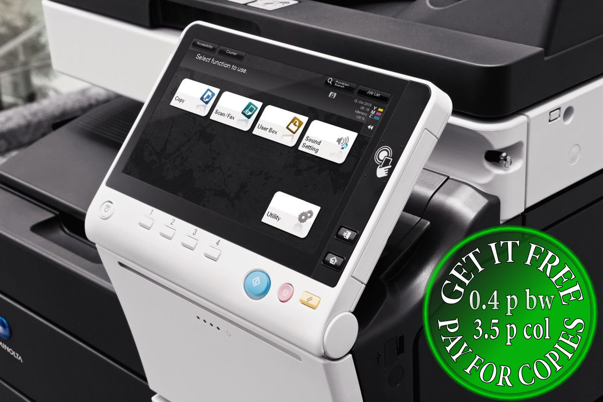 Get Free Konica Minolta Bizhub C558 Pay For Copies Only