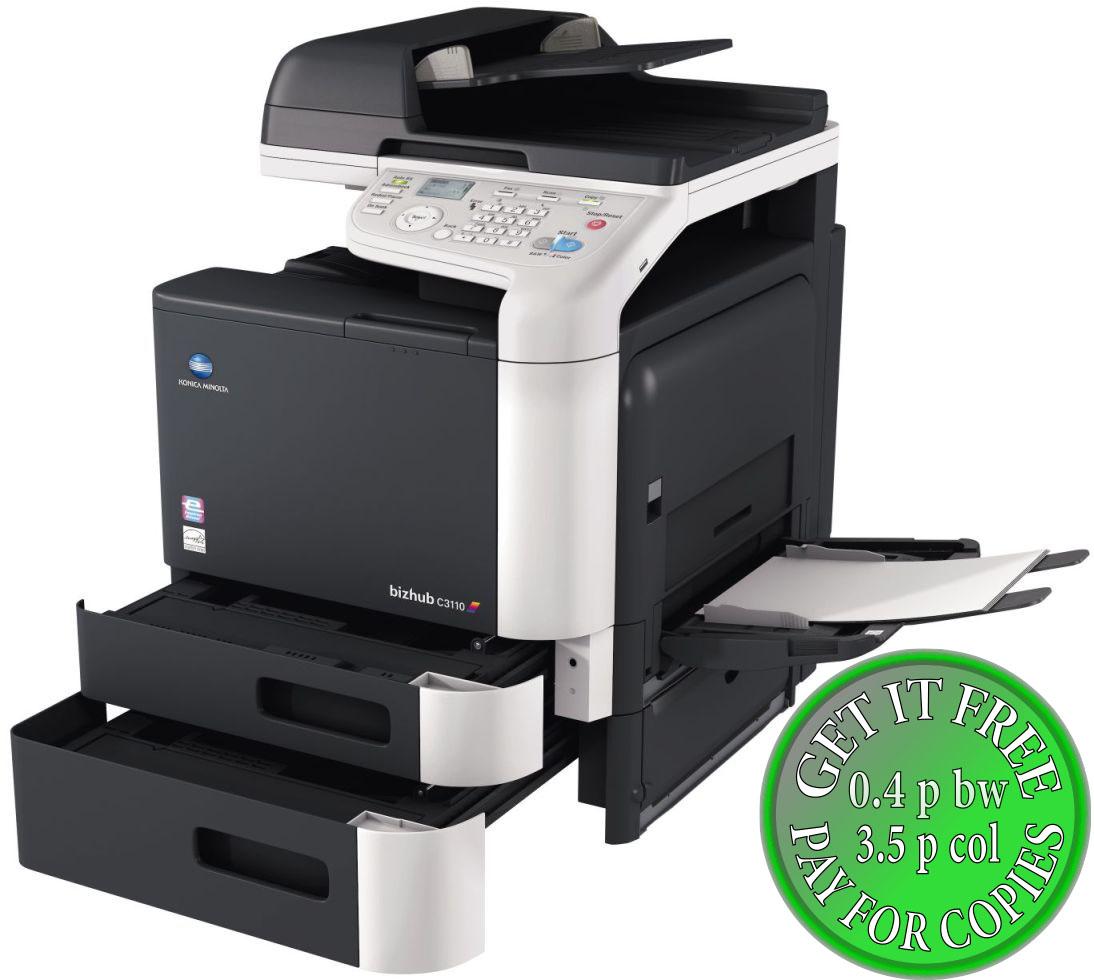 Colour Copier Lease Rental Offer Konica Minolta Bizhub C3110 Open Paper Trays Bypass