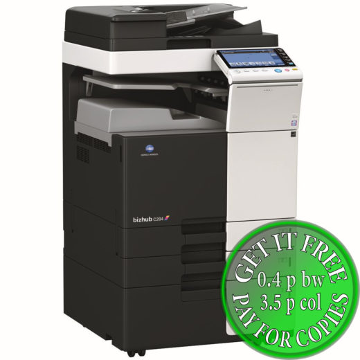 Colour Copier Lease Rental Offer Konica Minolta Bizhub C284 DF 624 JS 506 PC 410 Left
