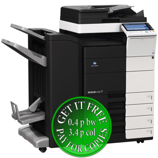 Colour Copier Lease Rental Offer Konica Minolta Bizhub C454 DF 701 FS 534 SD 511 PC 210 Left bundle