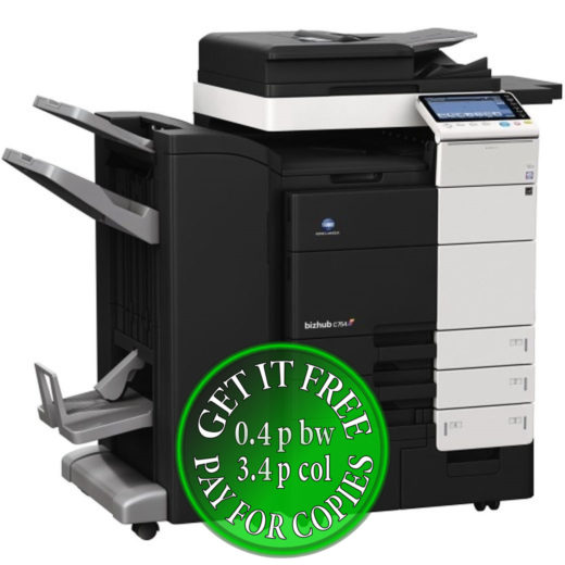 Colour Copier Lease Rental Offer Konica Minolta Bizhub C754 4x Cassettes DF-701 FS-534