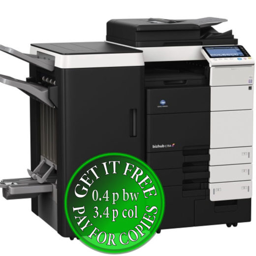 Colour Copier Lease Rental Offer Konica Minolta Bizhub C754 4x Cassettes DF-701 FS-535