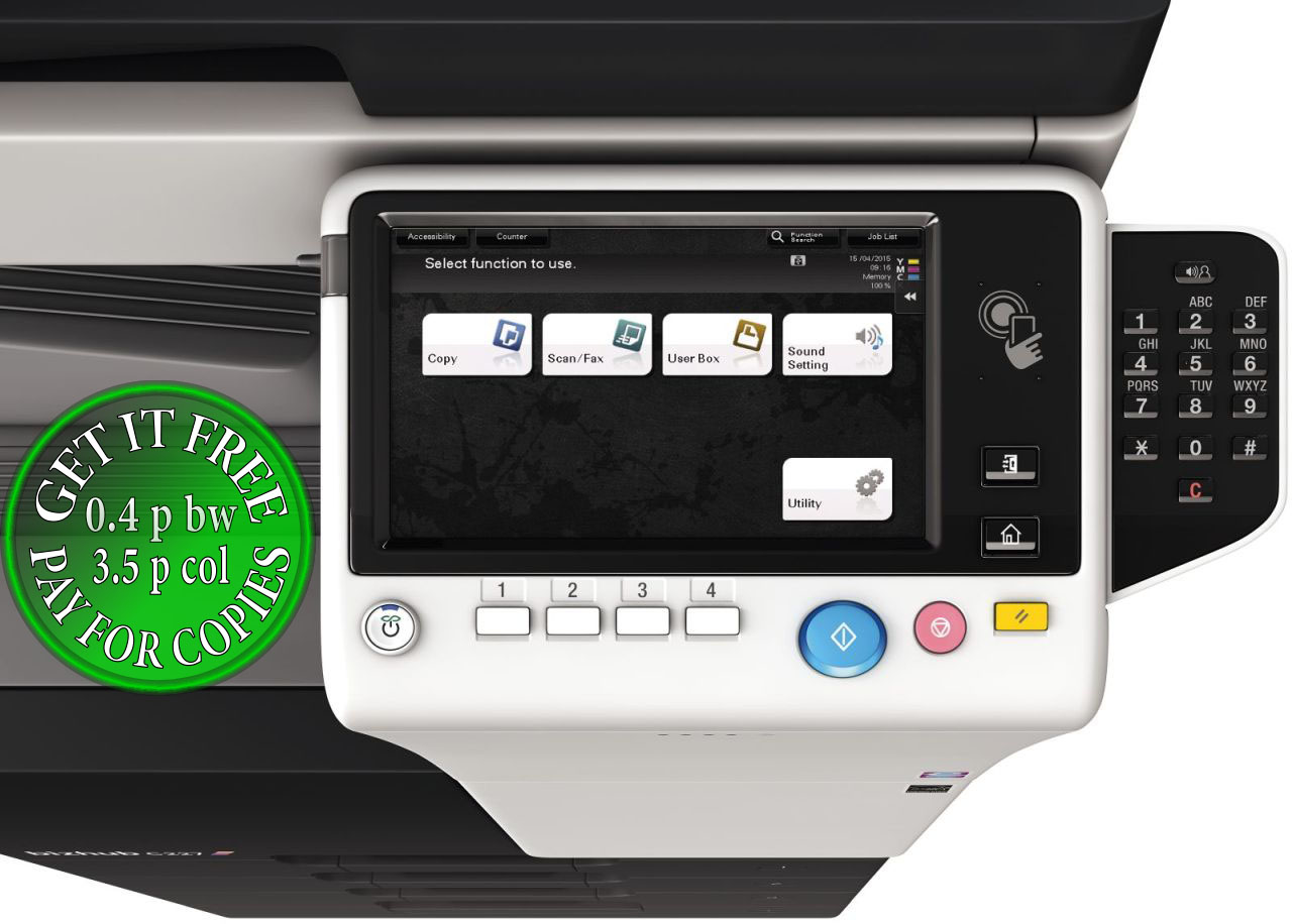 Get Free Konica Minolta Bizhub C227 Pay For Copies Only