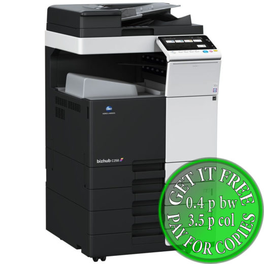 Colour Copier Lease Rental Offer Konica Minolta Bizhub C258 DF-629 OT-506 PC-110 Left