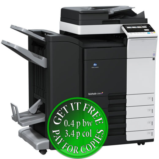 Colour Copier Lease Rental Offer Konica Minolta Bizhub C258 DF-704 FS-534SD PC-210 Left bundle