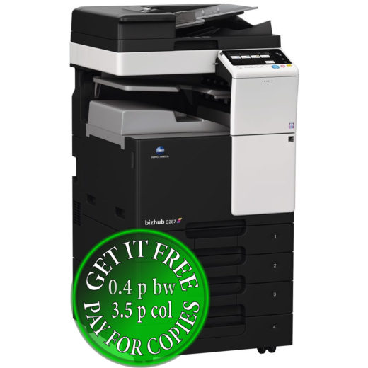 Colour Copier Lease Rental Offer Konica Minolta Bizhub C287 DF 628 JS 506 PC 214 Left