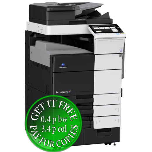 Colour Copier Lease Rental Offer Konica Minolta Bizhub C759 OT 508 Left